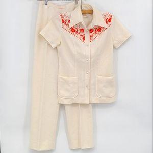 Vintage Bernard Cowan Toronto High Waisted Pants and Embroidered Western Shirt